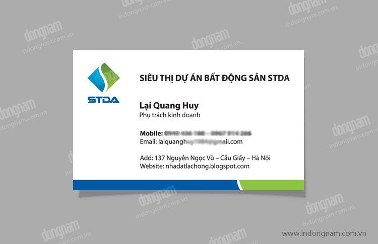 Mẫu card visit siêu thị dự án bất động sản STDA