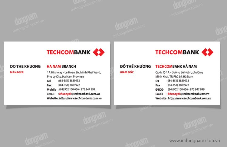 Mẫu card visit ngân hàng TechcomBank