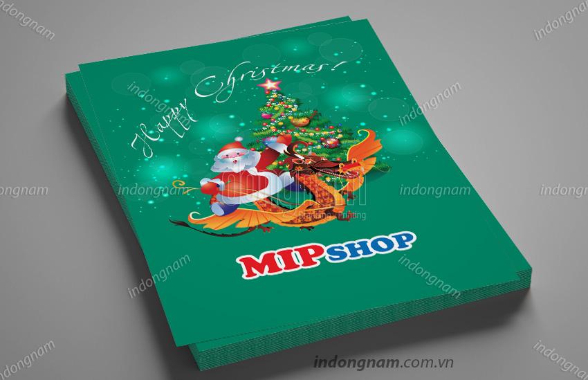 Mẫu thiết kế tờ rơi Noel quà tặng Mip shop