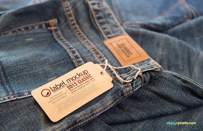 mẫu mác quần áo hình chuông cho quần jean