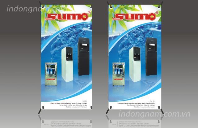 in banner quảng cáo máy lọc nước, in standee giá chữ x