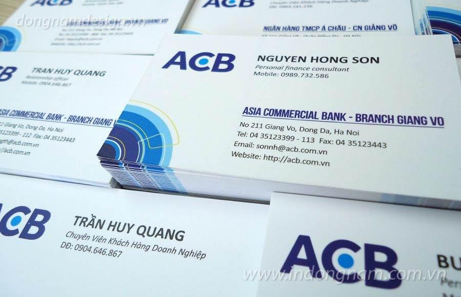 Mẫu card visit ngân hàng ACB