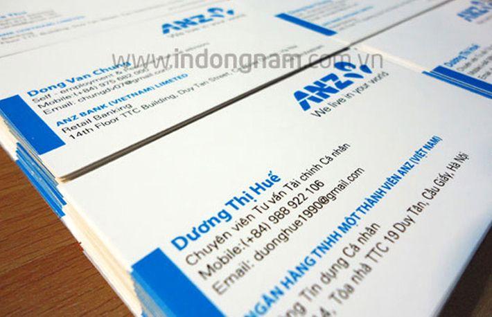 in name card ngân hàng ANZ