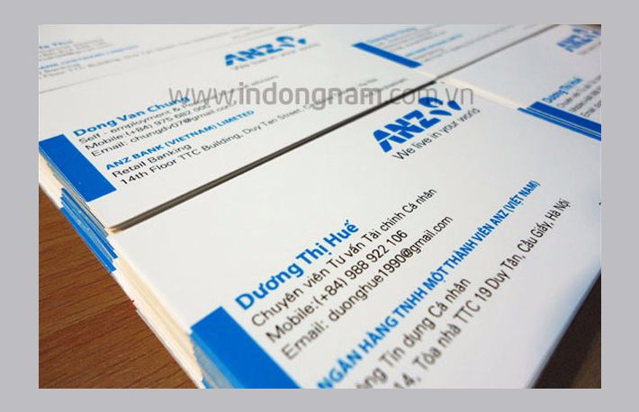 in card visit ngân hàng ANZ