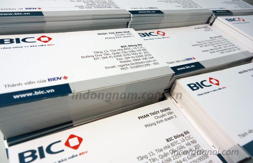 in card visit công ty bảo hiểm BIC quận đống đa