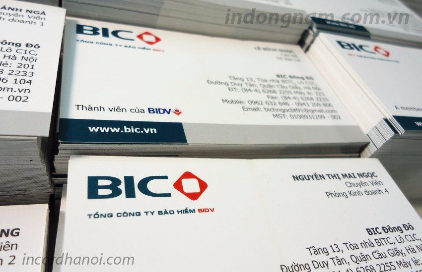 in card visit công ty bảo hiểm bic