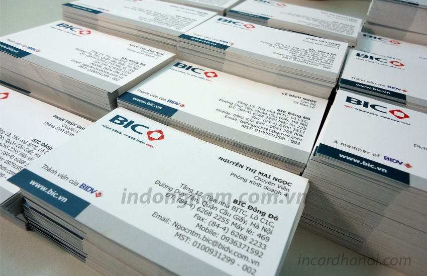 in name card công ty bảo hiểm bic