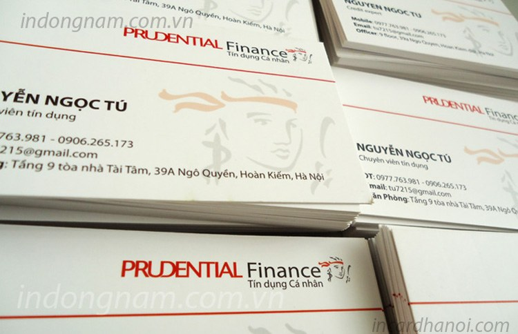 In name card công ty bảo hiểm prudential