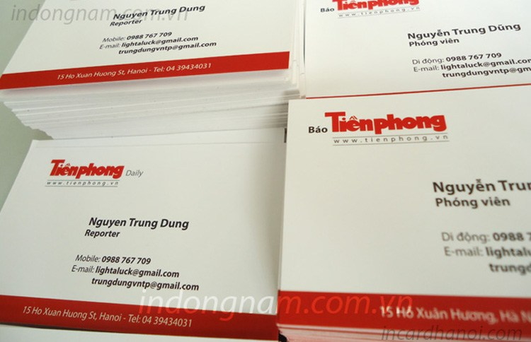 In name card báo tiền phong