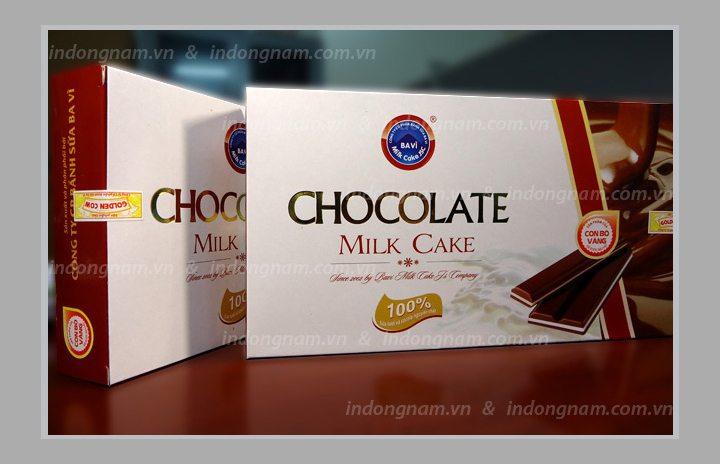 In vỏ hộp giấy chocolate sữa ba vì