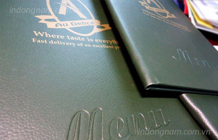 sản xuất menu bìa da cho nhà hàng khách sạn quán bar
