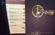 In menu nhà hàng Việt Phở
