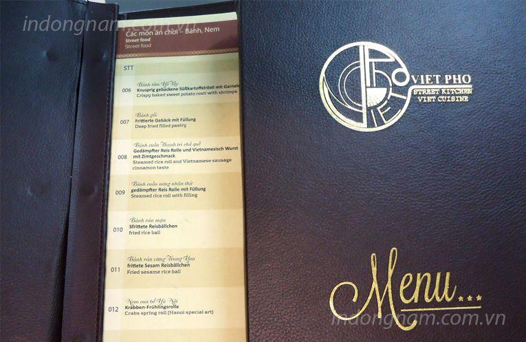 in menu bìa da nhà hàng