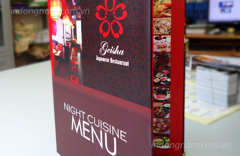 thiết kế menu nhà hàng Nhật bản, in menu bìa cứng