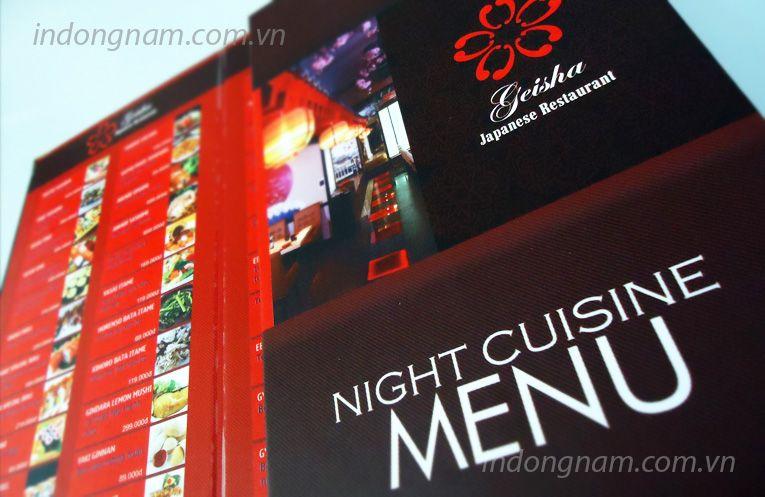 in menu bìa cứng nhà hàng
