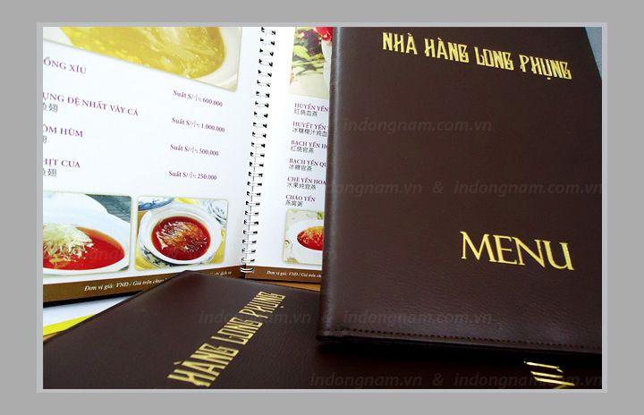 làm menu bìa da nhà hàng khách sạn