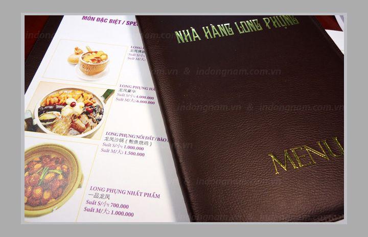 in menu bìa da nhà hàng khách sạn