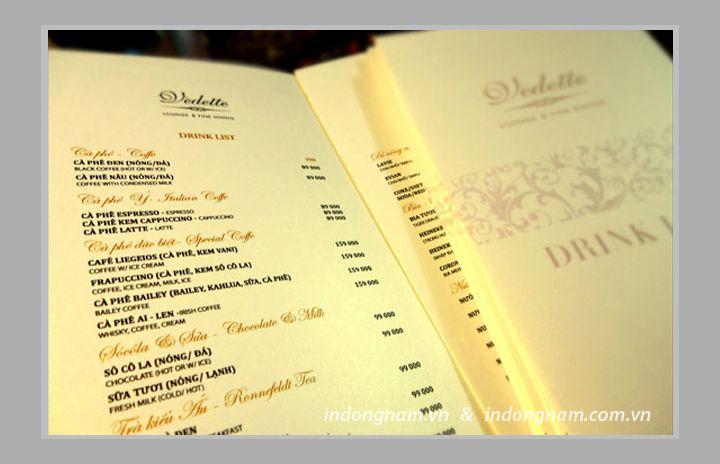 In menu chất liệu giấy mỹ thuật cao cấp