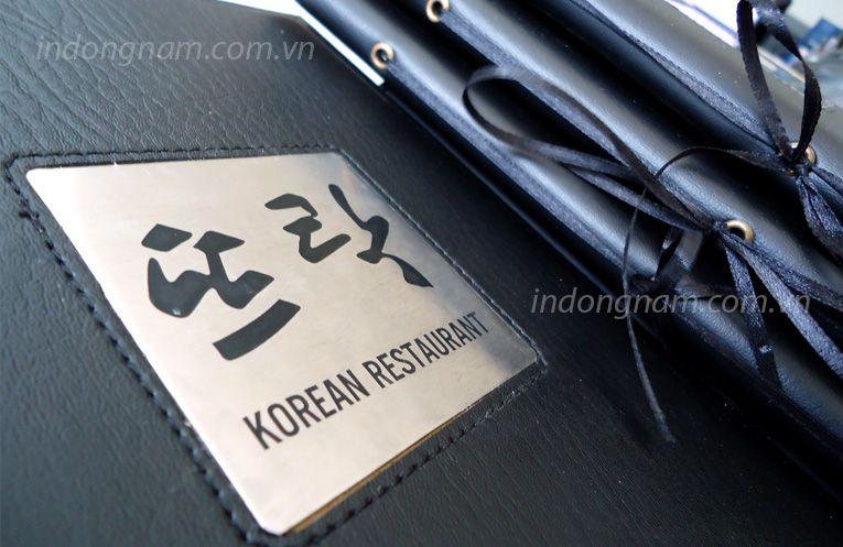 làm menu bìa da nhà hàng hàn quốc