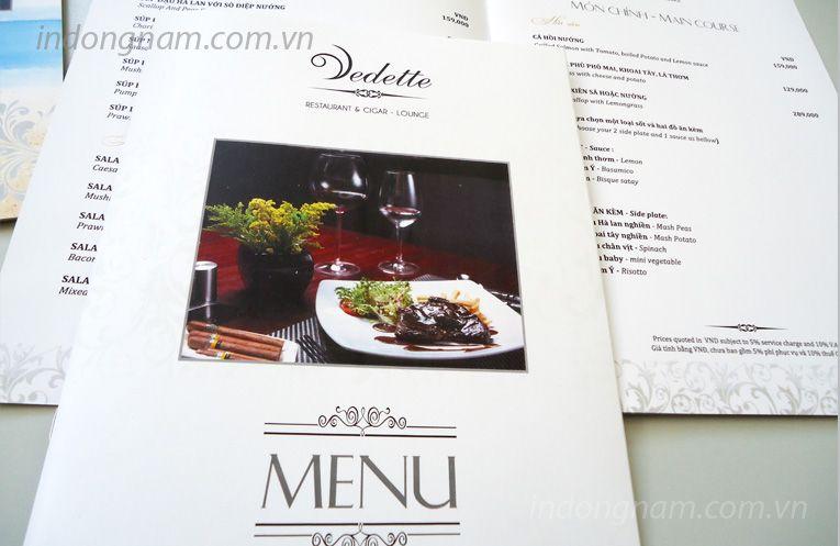 In menu nhà hàng Vedette