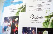 In menu đồ uống, menu hải sản nhà hàng Vedette