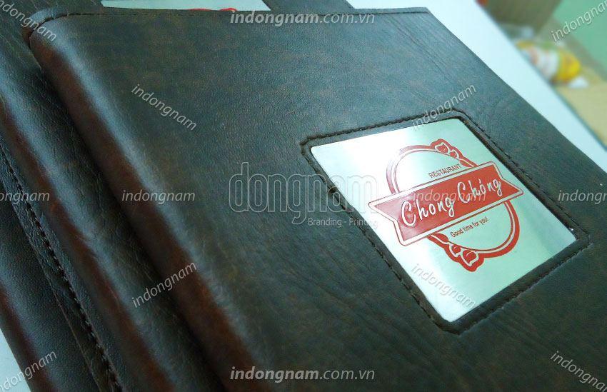 in menu nhà hàng bìa da cao cấp