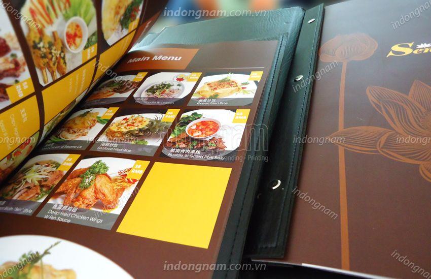 thiết kế menu, in menu bìa da nhà hàng khách sạn