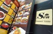 In menu bìa da nhà hàng Sen Việt Nam