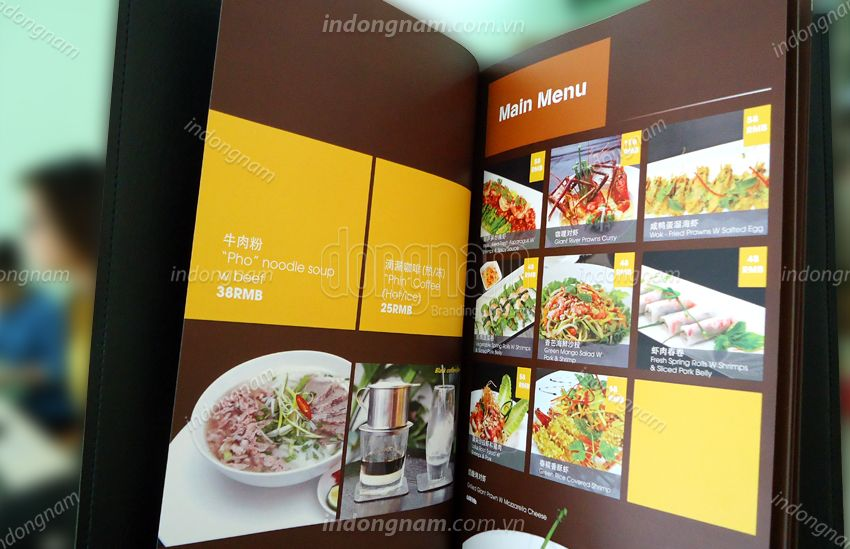 thiết kế in menu bìa da nhà hàng khách sạn