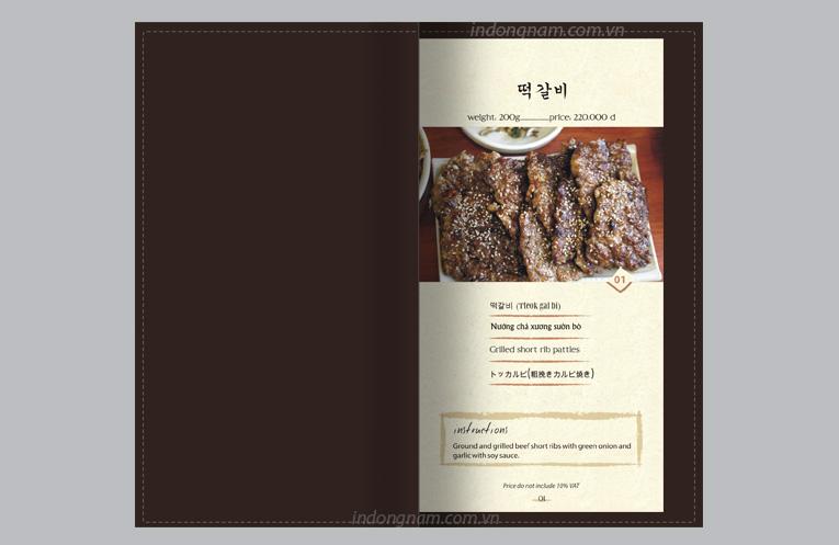 thiết kế menu bìa da nhà hàng