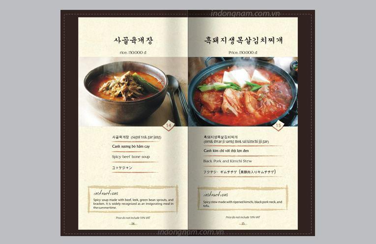 thiết kế menu thực đơn nhà hàng