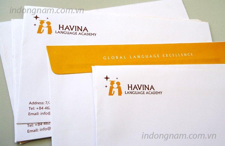 in phong bì công ty đào tạo ngoại ngữ