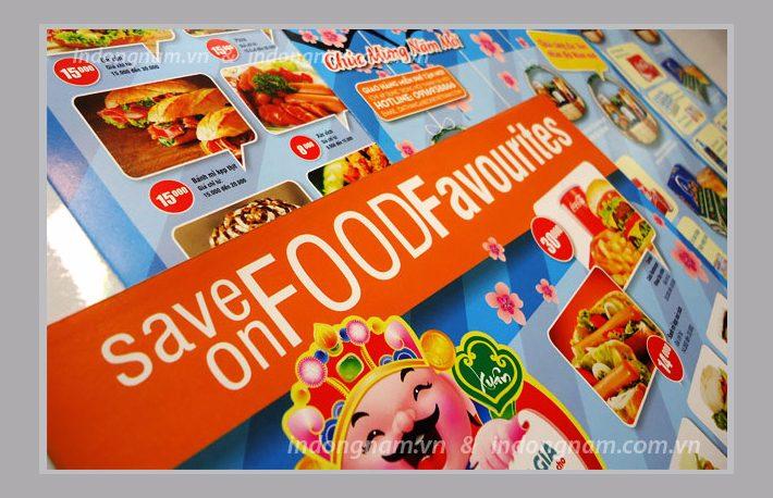 in tờ rơi quảng cáo cho siêu thị, nhà hàng