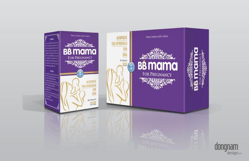 thiết kế bao bì vỏ hộp thực phẩm chức năng bb mama