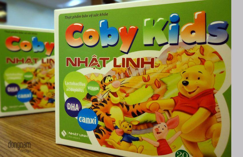 thiết kế bao bì vỏ hộp thuốc bổ trẻ em coby kids