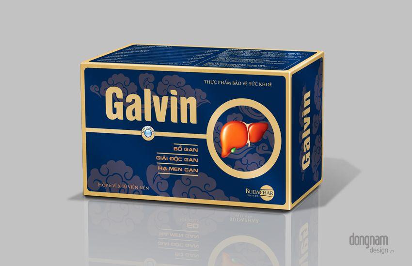thiết kế bao bì vỏ hộp dược phẩm bổ gan Galvin