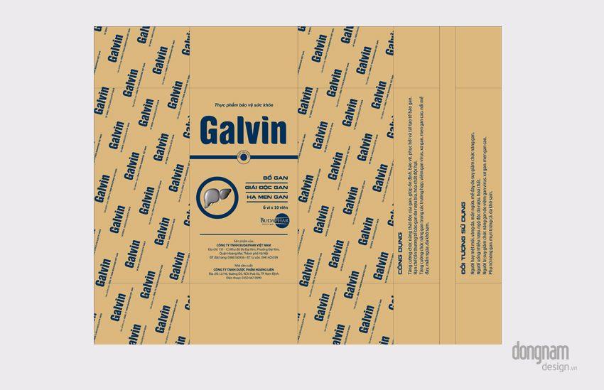 thiết kế bao bì túi bọc vỉ màng pet dược phẩm bổ gan Galvin