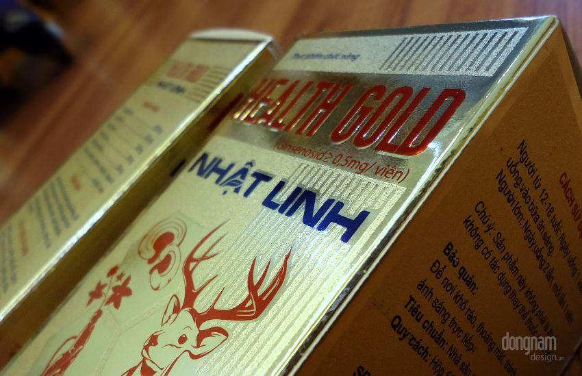 thiết kế vỏ hộp giấy tráng kim Health Gold Nhật Linh