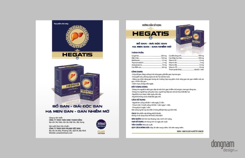 thiết kế bao bì vỏ hộp dược phẩm bổ gan Hegatis