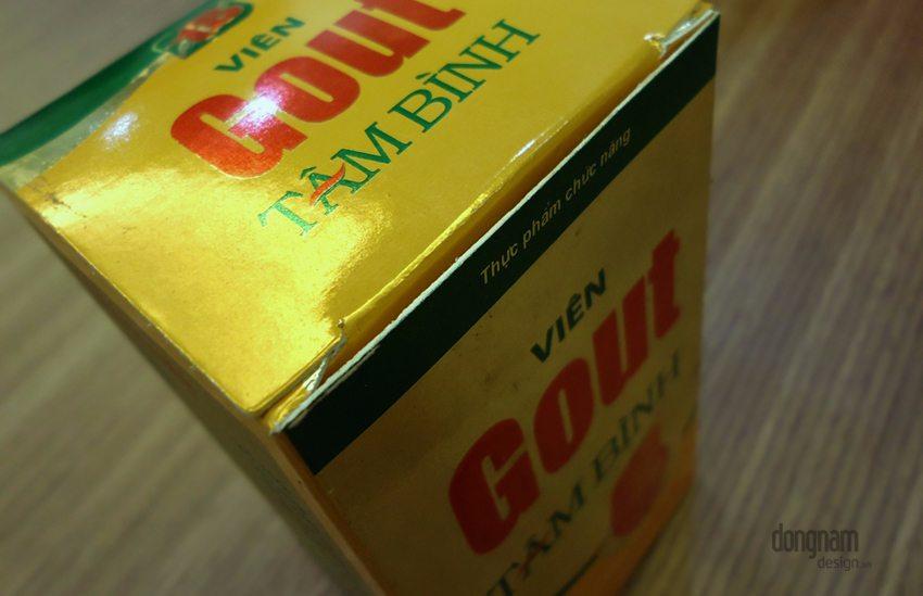 thiết kế bao bì vỏ hộp thực phẩm chức năng viên Gout Tâm Bình