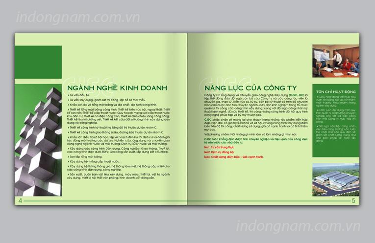 Thiết kế catalogue hồ sơ năng lực công ty xây dựng