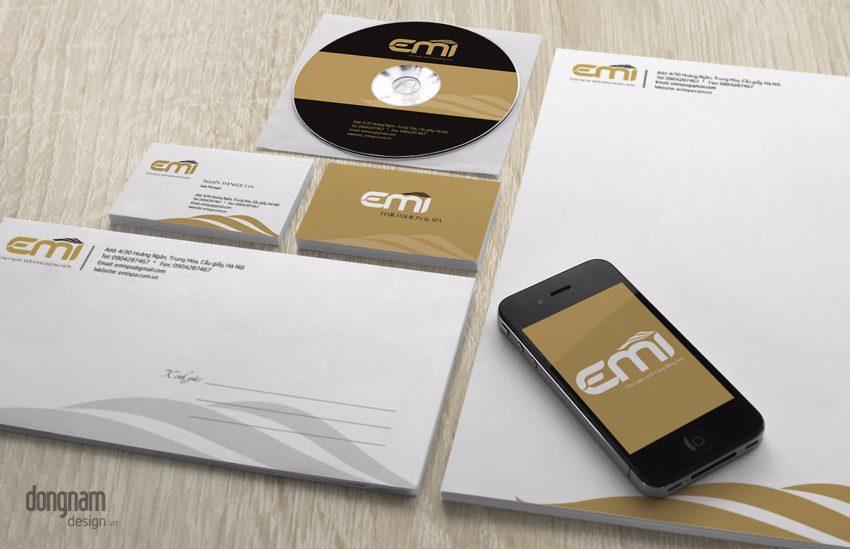thiết kế bộ nhận diện thương hiệu thẩm mỹ viện emi spa