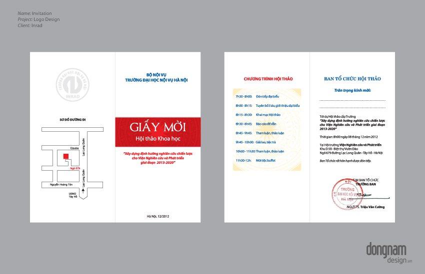 Thiết kế giấy mời Viện nghiên cứu Inrad